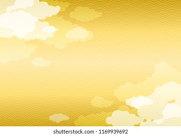 Japanese gold pattern background with cloud