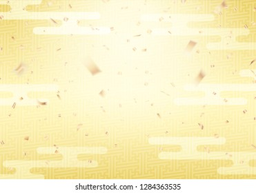 Japanese gold retro pattern and confetti background. Vector illustration.