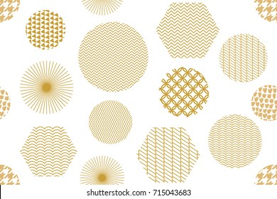 Japanese golden print with hexagons and circles. Seamless vector pattern with different geometric elements. Abstract white background with golden ornaments. Oriental textile collection.