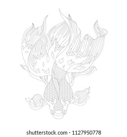 Japanese goldfish adult coloring page