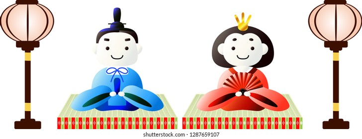 Japanese Gradation cute Hina dolls on tatami sheet with paper lantern