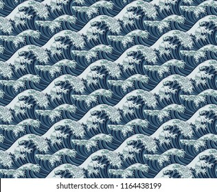 A Japanese great wave seamless pattern print