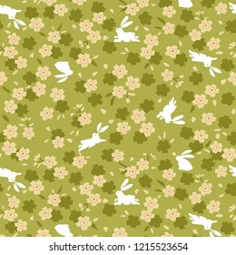 Japanese Green Cherry Blossom And Rabbit Pattern
