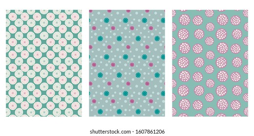 Japanese Green Grass Pollen, Dot Circle, Cherry Blossom Ball Abstract Vector Background Collection