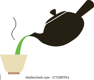 Japanese green tea , pour green tea from a japanese tea pot