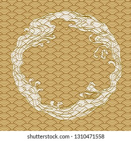 Japanese hand drawn wave background. Gold natural template vector.