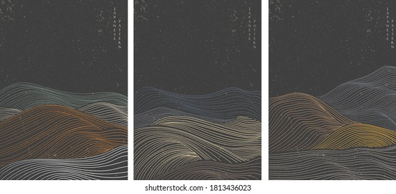 Japanese hand drawn wave pattern with abstract background vector. Curve element in oriental style.
