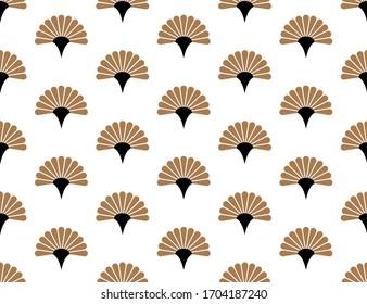 Japanese handheld fan floral vector seamless pattern.