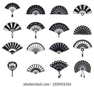 Japanese handheld fan icons set. Simple set of japanese handheld fan vector icons for web design on white background