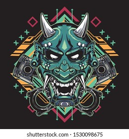 Japanese hannya demon mask with tribal sacred geometry on black backgroun for t-shirt, stickers, posters. Vector illustration. Tattoo arts style