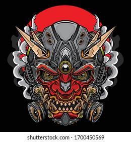 japanese hannya oni mask, vector EPS 10