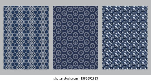 Japanese hexagon flower, cherry blossom flower circle, indigo cross abstract background