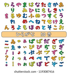 Japanese hiragana fonts, Japanese syllabary, vector set