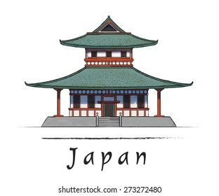 Japanese house. Asian architecture. Watercolor vector illustration. Hand drawn