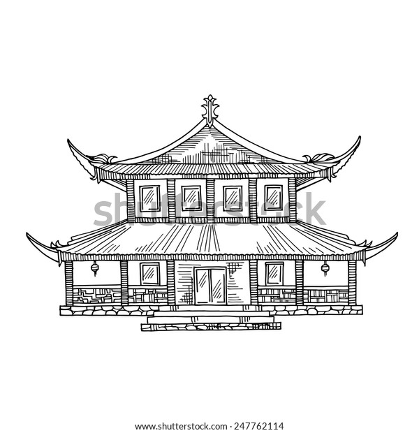 Temple Texas Traditional Home: Japanese House Chinese Traditional Hut Temple Stock Vector