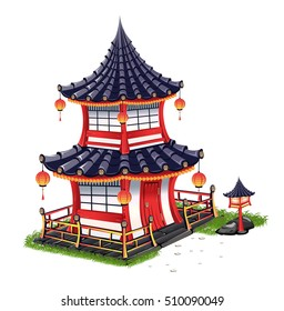 Japanese house with a roof tiles. Isolated on white background.