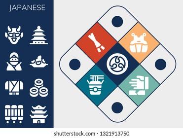 japanese icon set. 13 filled japanese icons.  Collection Of - Kamon, Room divider, Pagoda, Ninja, Sushi, Rice, Hannya, Kendo, Chopsticks, Noodles, Martial arts