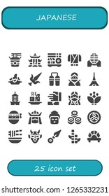 japanese icon set. 25 filled japanese icons. Simple modern icons about  - Noodles, Pagoda, Sushi, Ninja, Martial arts, Rice, Nunchaku, Tokyo, Tofu, Blossom, Samurai, Geisha, Kamon