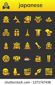 japanese icon set. 26 filled japanese icons.  Simple modern icons about  - Pagoda, Martial arts, Shuriken, Hannya, Rice, Sushi, Nunchaku, Tokyo, Kimono, Bonsai, Samurai, Chopsticks