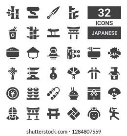 japanese icon set. Collection of 32 filled japanese icons included Martial arts, Japanese, Tatami, Katana, Torii, Kendo, Sensu, Rice, Nunchaku, Yen, Noodles, Kusarigama, Paper fan