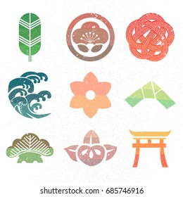 Japanese icon and symbol vector. Green leaf, flower, wave, paper, tree.