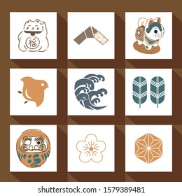 Japanese icon vector. Asian traditional crest symbol. Dog, cat, bird, wave, daruma, and cherry blossom flower elements.