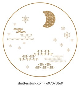 Japanese icon vector. Gold symbol background such as moon, star, wave, cloud for card, poster, postcard, template,cover design,