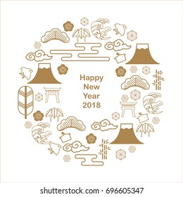Japanese icon vector. template, postcard, poster, card for New Year celebration. There are Fuji mountain, cloud, wave, bush, flower, bamboo.