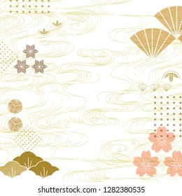 Japanese icon with wave pattern vector. Fan, pine tree, cherry blossom and hand drawn wave elements.