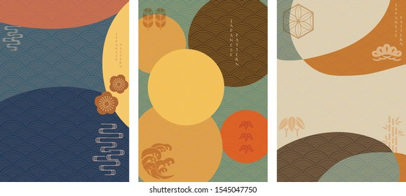 Japanese icons with abstract background vector. Chinese wave pattern and geometric template. Bamboo, bonsai, pine tree , wavy and cherry blossom elements.
