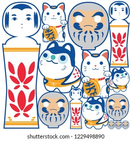 Japanese icons background vector. Lucky doll template in Japanese style. Daruma, Kokeshi doll and Beckoning cat character.