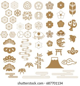 Japanese icons, crest vector. Tree, Bamboo, Flowers,Wave, Fan, Cloud, Fuji mountain, Cherry blossom.