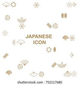 Japanese icons, crest vector. Tree, Bamboo, Flowers, leaf, Fan, Cloud, fan, Cherry blossom.