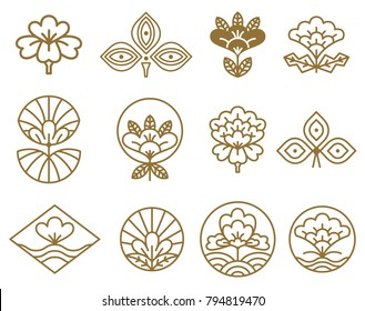 Japanese icons flowers set, circles serving as frame and images of traditional plants in blossom, vector illustration isolated on white background