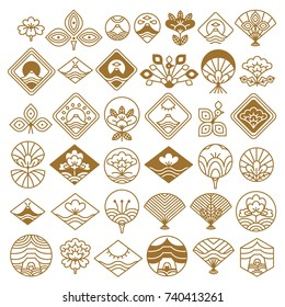 Japanese icons set with rhombus-shaped pictures of fan, lotus flower, sea and sun natural phenomenons. Vector Illustration with doodles isolated on white background