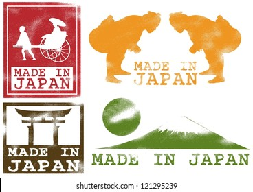 Japanese icons set rubber stamp in stencil style, Vector