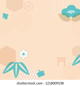 Japanese icons template vector with geometric pattern background.