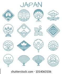 Japanese icons with unusual floristic patterns in shape of rhombus or traditional fan in blue color isolated cartoon flat vector illustrations set.