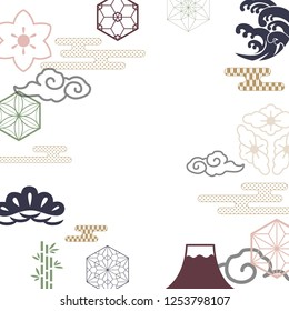 Japanese icons vector. Color Japanese pattern background.