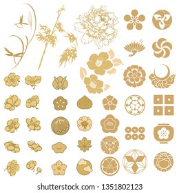 Japanese icons vector. Gold Asian sign. Flower, dragonfly, bamboo, crest, crane, cherry blossom, rabbit and leaves elements.
