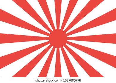 Japanese imperial navy flag isolated vector design. Abstract japanese flag for decoration design. Sunshine vector background. Vintage sunburst. EPS 10