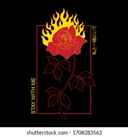 """Japanese inscription 私と一緒にいて it means """"stay with me"""" in English  Rock print, fire vector, rose vector"""