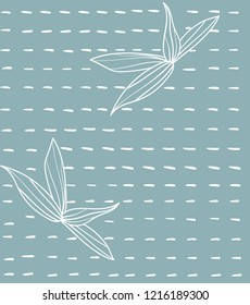 Japanese inspired pattern. seamless vector pattern. Bamboo leaves doodle