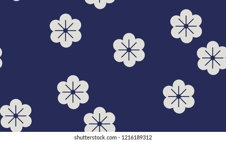 Japanese inspired pattern. seamless vector pattern. Florals on dark blue background