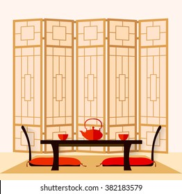 Japanese Interior. living room in a flat style. Vector illustration. The room for the tea ceremony. Dining room in oriental style.