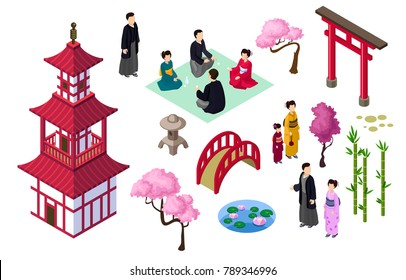 Japanese isometric elements  couple kimono sakura geisha traditional japanese clothes sakura bamboo bridge light pond hakama haori traditional japanese people isometric japan elements isolated