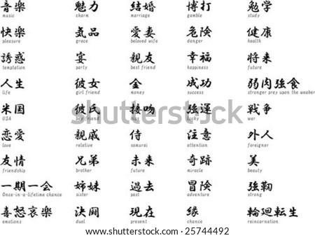 Japanese Kanji Translation Stock Vector Royalty Free 25744492
