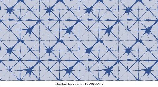Japanese Kimono Vector Seamless Pattern, Female Tie Dye Organic Texture. Wabi Sabi Ikat Geo Texture, Asian Kimono Textile Watercolour Batik Prints. Creative Shibori Geometric Seamless Summer Pattern