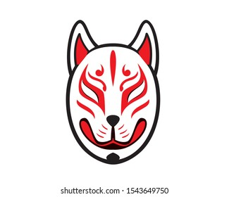 Japanese Kitsune Fox Mask Illustration