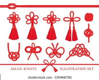 Japanese knot vector illustration set.